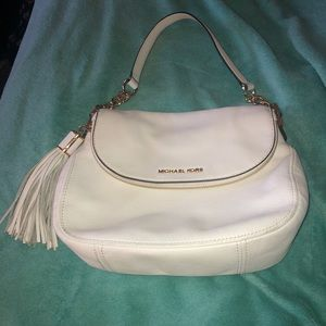 Michael kors white leather flap purse